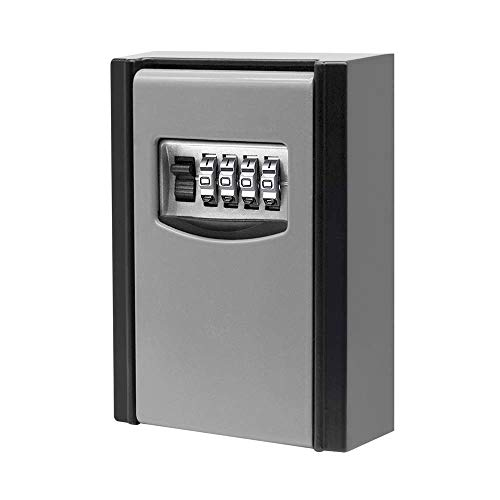 Key Lock Box, Key Storage Lock Box with 4 Digit Combination for Outside, Zinc Alloy Wall Mounted Weatherproof Lock Box, Key Safe Box for Airbnb Home Garage School House Spare Keys - Resettable Code