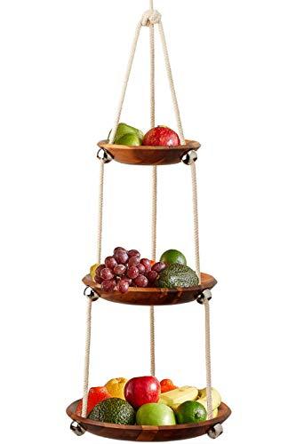 Obstkorb zum Aufhängen, 3 Etagen, Akazienholz, platzsparend, robustes Baumwollseil, höhenverstellbar