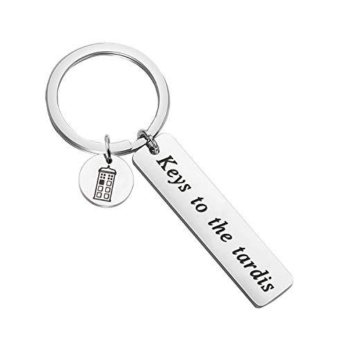 SEIRAA Doctor Who Keychain Keys To The Tardis Keychain Police Box Charm Jewelry Tardis Gift Movie Quote Gift
