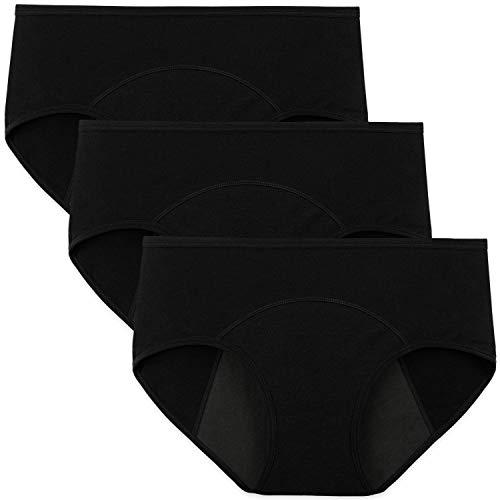 INNERSY Bragas Menstruales Absorbentes de Mujer para Período Algodón Pack de 3 (S-EU 38, 3 Negro)
