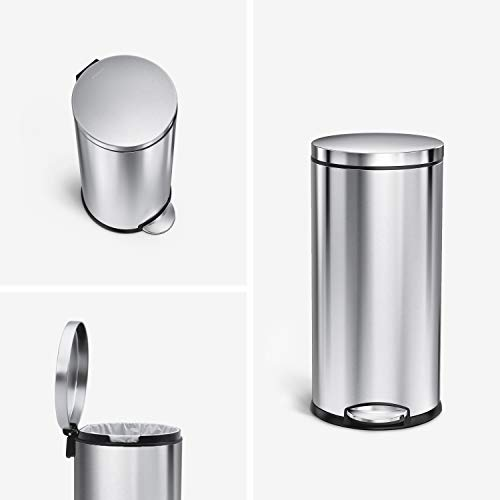 Product Image 1: simplehuman 30 Liter / 8 Gallon Round Step Trash Can, Brushed Stainless Steel