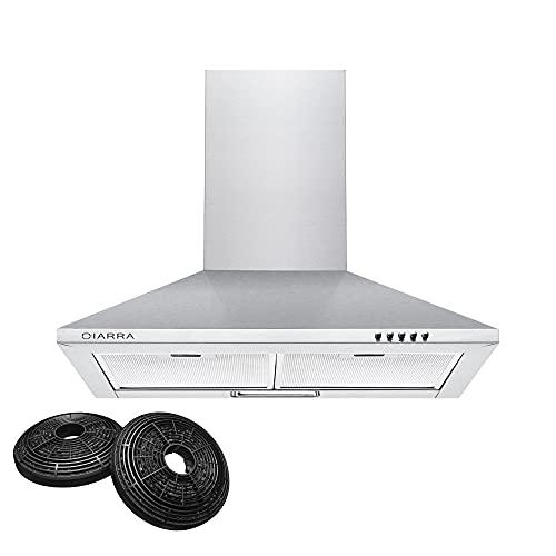 CIARRA CBCS6201 cappa aspirante 60 cm cappa cucina 60 cm cappa da cucina, 370m3/h cappa filtrante in acciaio inossidabile (argento)