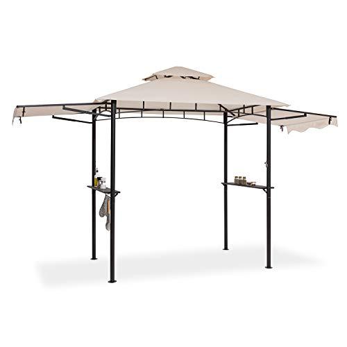 blumfeldt Steakhouse Wings – Pabellón, Techo para barbacoas, 235 x 242 x 145 cm, Protegido contra la Lluvia o el Sol: poliéster Impermeable de 160 g, retarda la propagación del Fuego, Beige