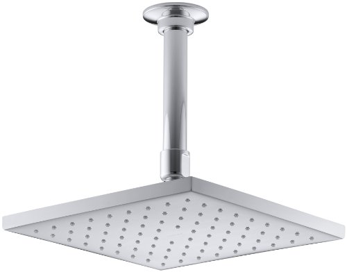 KOHLER 13695-CP Contemporary Square Rainhead with Katalyst Air-Induction Spray, 2.5 GPM, 8-Inch.5, Polished Chrome