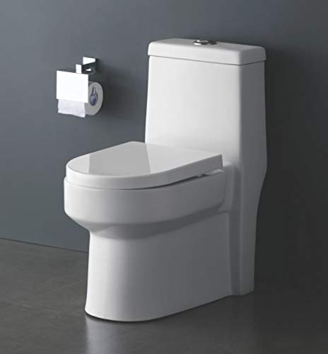 B Backline One Piece Ceramic Floor Mounted Western Toilet Commode/Water Closet/European Toilet S Trap OUTLET Is From FLOOR With Seat Cover Glossy Finish 9' Distance From Wall For Bathrooms