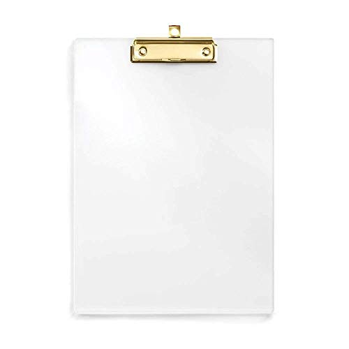 UNIQOOO Thick Clear Acrylic Clipboard with Shinny Gold Finish...