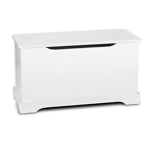 Leomark Hölzern Kindertruhenbank Kinderbank Weiße Farbe Truhenbank Behälter für Spielzeug, Sitzbank mit Stauraum für Spielsachen