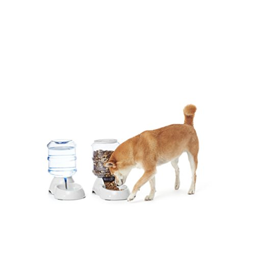 AmazonBasics Gravity Pet Food Feeder and Water Dispenser Bundle, Small (1-Gallon Capacity)