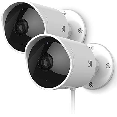 YI Telecamera Outdoor 1080P Kit da 2,Telecamera Wifi Esterno Compatibile con Alexa, Impermeabile IP65 con Sirena Integrata,Visione Notturna a infrasossi, Rilevamento Movimento con Notifiche Push Reale