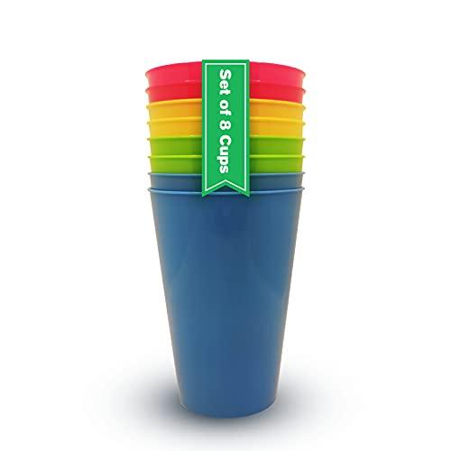 Vasos Plastico Duro Niños y Adultos (8 uds) Vasos Libres de BPA 450ml Vasos Camping Plastico Colores. Vasos Plastico Duro Reutilizables para Fiestas