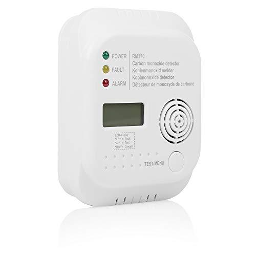 Smartwares RM370 Kohlenmonoxid CO Melder mit Display und Temperaturanzeige, Prüftaste, 1 Stück