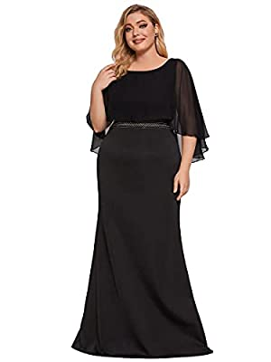Fully lined, no built-in bras, low stretch Features: plus size, chiffon batwing sleeve, empire waist, bodycon, mermaid, maxi dress Maxi elegant plus size mermaid formal dress, the dress makes you look charm adorable and fashion Perfect as bridesmaid ...