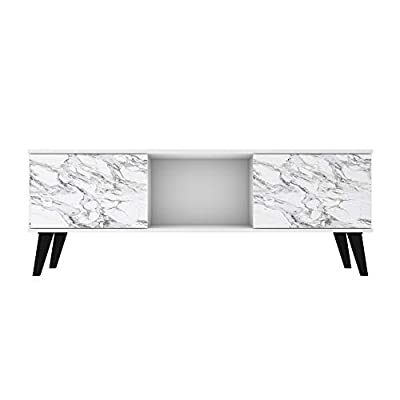 """Enjoy that Luxurious, Nature-Inspired Look to Your Living Room or Bedroom with the Doyers 53. 15 TV Stand by Manhattan Comfort, Featuring a Beautiful Midcentury Modern Design in Gorgeous White and Marble Finish. Measures 53. 15"""" inch L x 19. 84"""" inch..."""