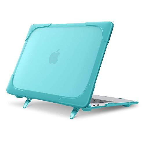 MOSISO MacBook Air 13 インチ ケース 2020 2019 2018 Retina Display付き A2179 A1932対応 プラスチック ハードケース 頑丈 シェルカバー 折りたたみ式 キックスタンド付き(ターコイズ)