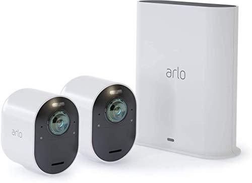 Arlo Ultra VMS5240 Sistema di Videosorveglianza Wi-Fi con 2 Telecamere di Sicurezza 4K, Audio 2 Vie, Luce, Bluetooth, Visione 180° Diurna/Notturna, Interno/Esterno, Compatibile con Alexa/Google Wi-Fi