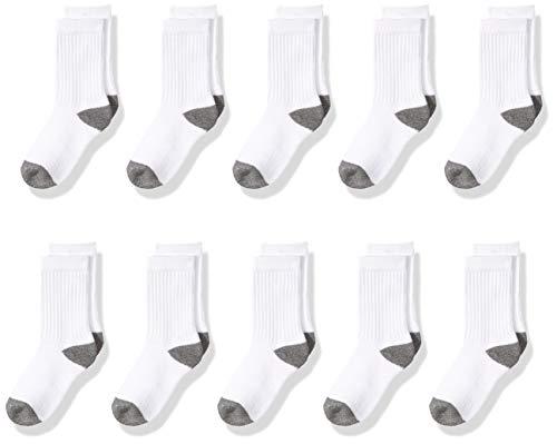 Amazon Essentials - Calzini sportivi in cotone per bambini, confezione da 10, White/Grey Heather...
