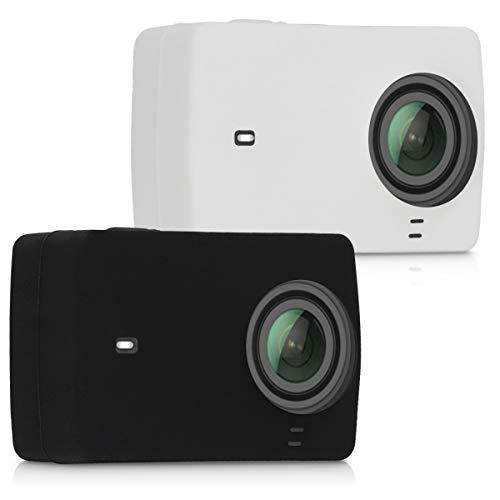 kwmobile 2x Cover compatibile con Xiaomi Yi Action Camera 4K/4K Plus - custodia in silicone per Action Camera - case morbida per Action Cam - nero/bianco