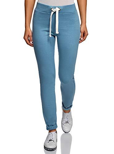 oodji Ultra Mujer Pantalones de Punto Deportivos con Cordones Decorativos, Azul, ES 42 / L