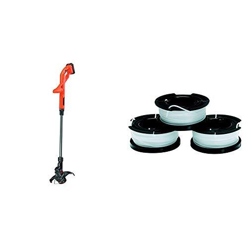 Black+Decker St1823-Qw Tagliabordi a Batteria Litio 18V-1.5Ah, Taglio 25 Cm & A6485-Xj Set 3 Rocchetti Filo Nylon Reflex, 3 X 10M, 1.5Mm