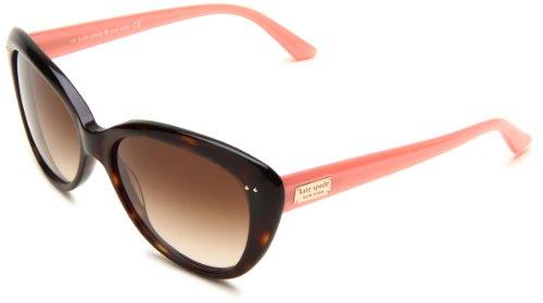Kate Spade New York Women's Angeliq Cat-Eye Sunglasses, Tortoise Blush/Brown Gradient, 55 mm