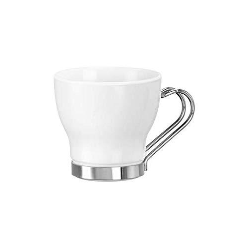 Bormioli Rocco - Bicchieri per caffè Espresso con Manici in Acciaio Inox, 10,9 cl (Set da 4)