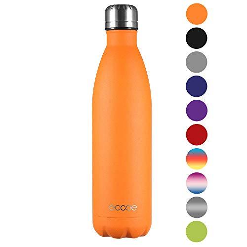Ecooe Thermosflasche 750ml Doppelwandig Trinkflasche Edelstahl Wasserflasche Vakuum Isolierflasche Orange (MEHRWEG)