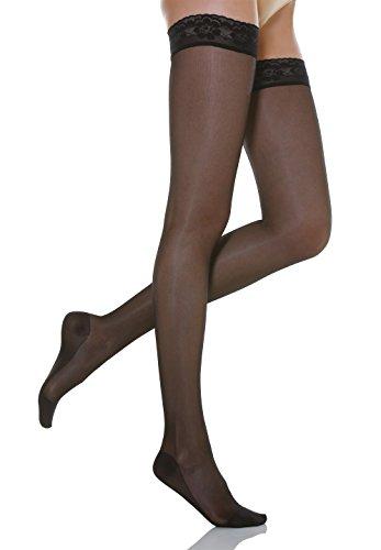 Relaxsan Basic 770 (Nero, tg.4) calze elastiche autoreggenti compressione graduata 70 Den