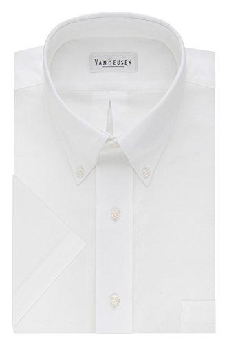 Van Heusen Men's Short Sleeve Oxford Dress Shirt, White, XX-Large