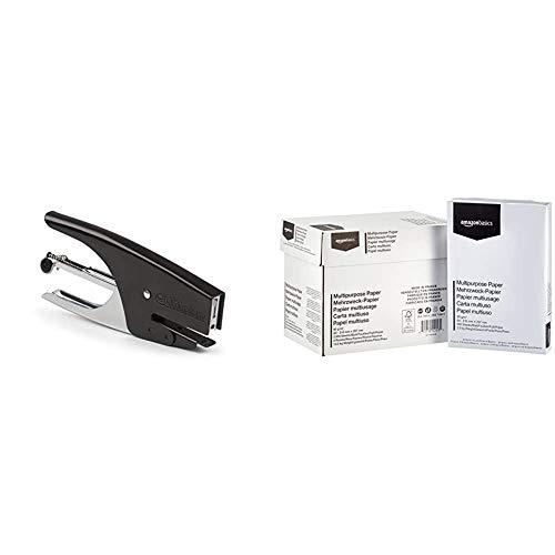 TiTanium Cucitrice a Pinza passo 6 - colore nero & Amazon Basics Carta da stampa multiuso A4 80gsm, 5x500 fogli, bianco