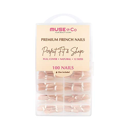 MUSE & Co Stick-On Gel 100 False Nails Medium Long Length Gloss Classic Nude Squoval French Tip
