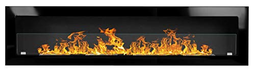 Bio Ethanol Fire BioFire Fireplace Modern 1800 x 400 high gloss black with glass panel 3XXL
