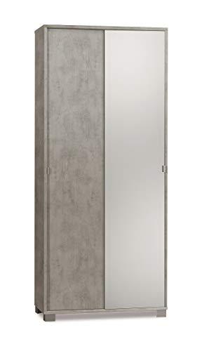 Armadio con 2 ante scorrevoli e Specchio naturale H190 L82 P41 Cm colore Cemento 798spk