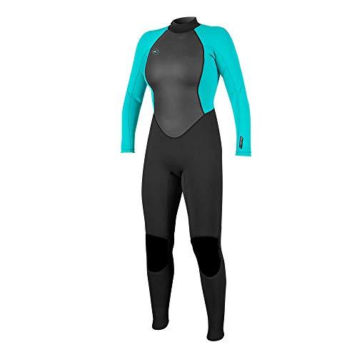 O\'Neill Wetsuits Damen Reactor II 3/2mm Back Zip Full Wetsuit Neoprenanzug, Black/Light Aqua, 10