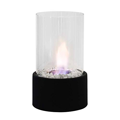 ZHFF Tabletop Bio Ethanol Indoor/Outdoor Portable with Round Stainless Steel Burner Cup Fireplace Electrical Fireplaces