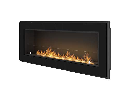 Bio Ethanol Fireplace SimpleFire Frame 1200 Black with Protective Glass
