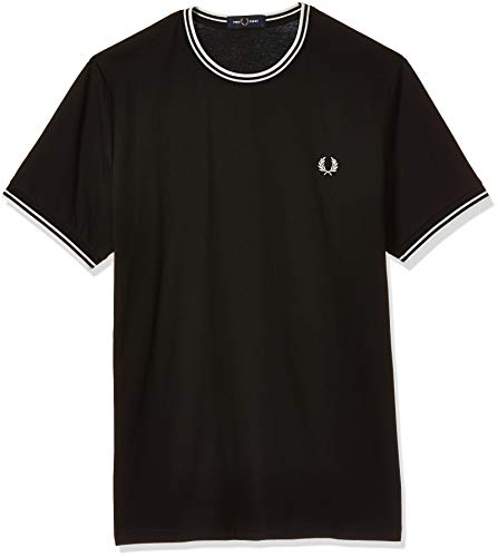Fred Perry FP Twin Tipped T-Shirt, Nero, Large (Taglia Produttore:L) Uomo