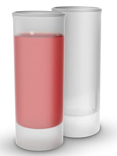 12 Bicchierini da Shot Lunghi - Vetro Temperato Satinato - Stabile - Lavabile in Lavastoviglie - Per Liquori, Amaro