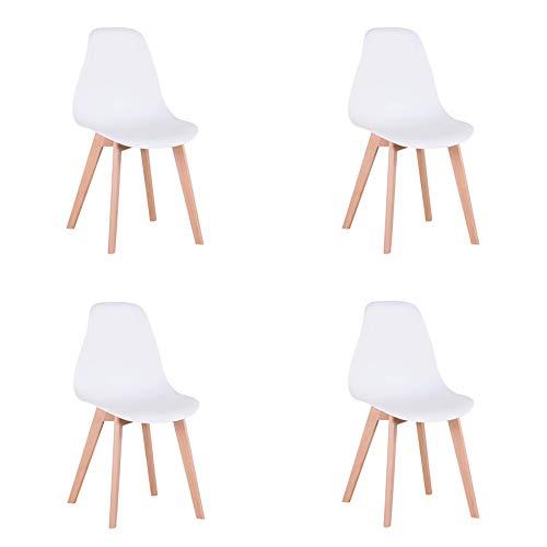 GrandCA HOME Sedia da pranzo in Stile Nordico,Set di 4 sedie con Gambe in Legno massello, Adatto per sala da pranzo soggiorno (Bianco)