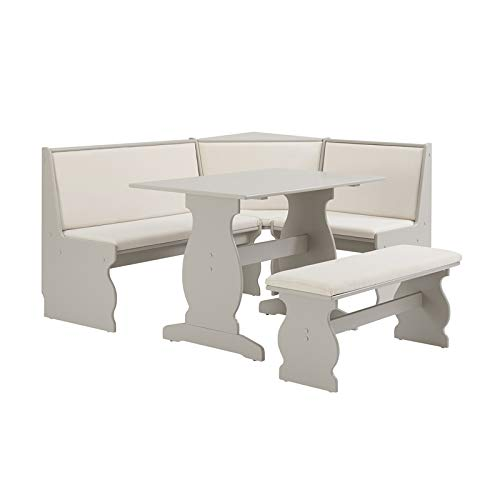 Riverbay Patio Conversation Indoor 3 Piece Kitchen Corner Nook Table Booth Bench Breakfast Dining Set in Soft Gray
