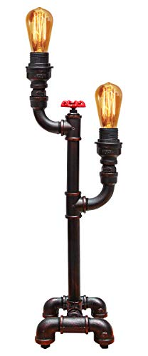 Vintage Industrial Water Pipe Table Lamp Valve Tap Double Uplighter Metal Rustic Retro Antique Desk Lamp T1004 (Sports)