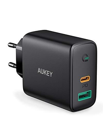 AUKEY USB C Chargeur Secteur USB avec Dynamic Detect, Chargeur Mural avec 30W USB C Power Delivery 3.0 pour iPhone XS/XS Max/XR, Pixel 3 / 3XL, MacBook Air, Nintendo Switch.etc.