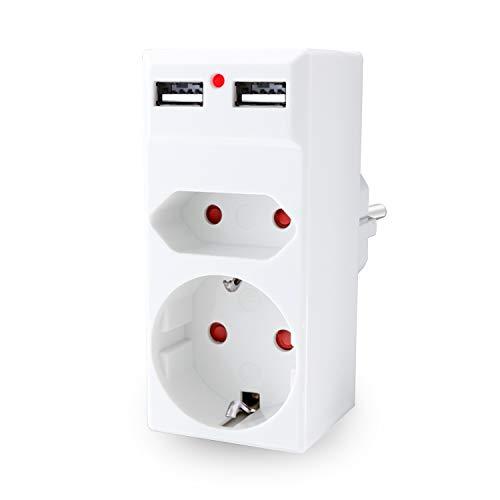 benon Steckdosen-Adapter 2-Fach - Weiß mit 2X USB - 2in1 Mehrfachstecker - Doppelstecker mit Überlastschutz und Kindersicherung - 2.4A USB (5V) - Multistecker max. 3680W