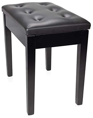 RockJam Padded Wooden Piano Bench Stool with Storage (RJKBB500)