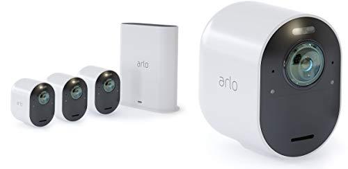 Arlo Ultra VMS5440 Sistema di Videosorveglianza Wi-Fi con 4 Telecamere di Sicurezza 4K, Audio 2 Vie, Luce, Bluetooth, Visione 180 Diurna/Notturna, Interno/Esterno, Compatibile con Alexa/Google Wi-Fi