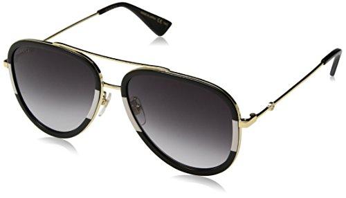 Model: GG0062S Style: Pilot Frame/Temple Color: Gold/Black/White - 006 Lens Color: Gray Gradient