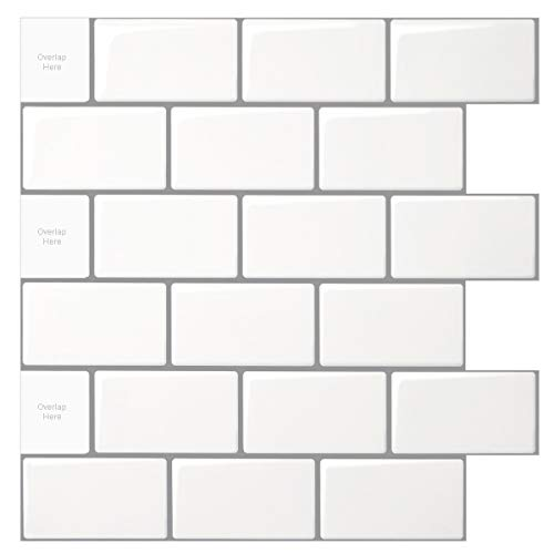 10-Sheet Peel and Stick Tile for Kitchen Backsplash, 12x12 inches...