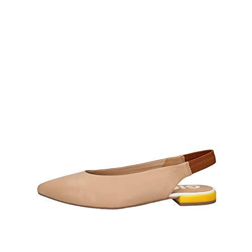 Gioseppo_ Zapato Destalonado de Piel en Color Nude con Detalle de Piel Amarilla en el tacón para Mujer, TALLA36EU