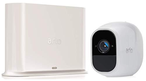 Arlo Pro2 VMS4130P Kit Base Sistema di Videosorveglianza Wi-Fi con 1 Telecamera di Sicurezza, Audio 2 Vie, Batteria, Full HD, Visione Notturna, Interno/Esterno, VCR Opz, Alexa e Google Wi-Fi
