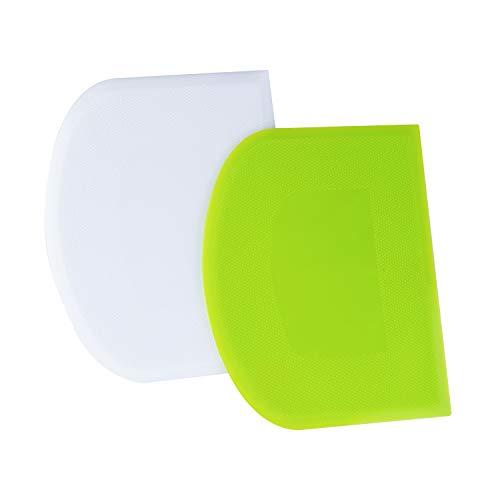 LUTER 2 Stück 12x9,5cm Teigschaberkarte Teigschneider Schüsselschaber Teigbrotschneider zum Backen, Kunststoff (Grün, Weiß)