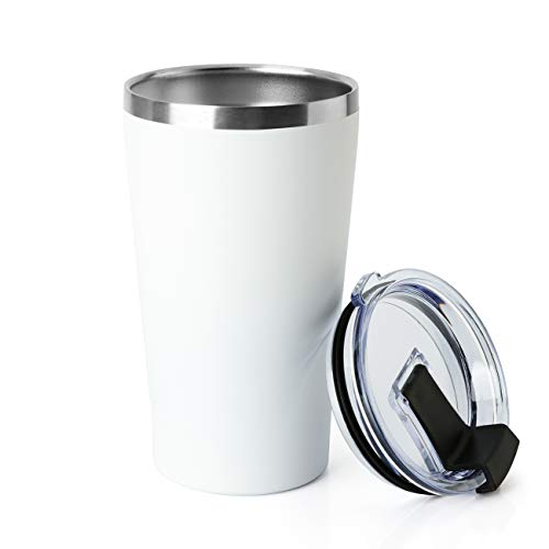 MEWAY 16oz Tumbler Stainless Steel Travel Coffee Mug with Lids Double Wall Insulated Coffee Cup for Home, Office, Travel Great (White, 1 pack)